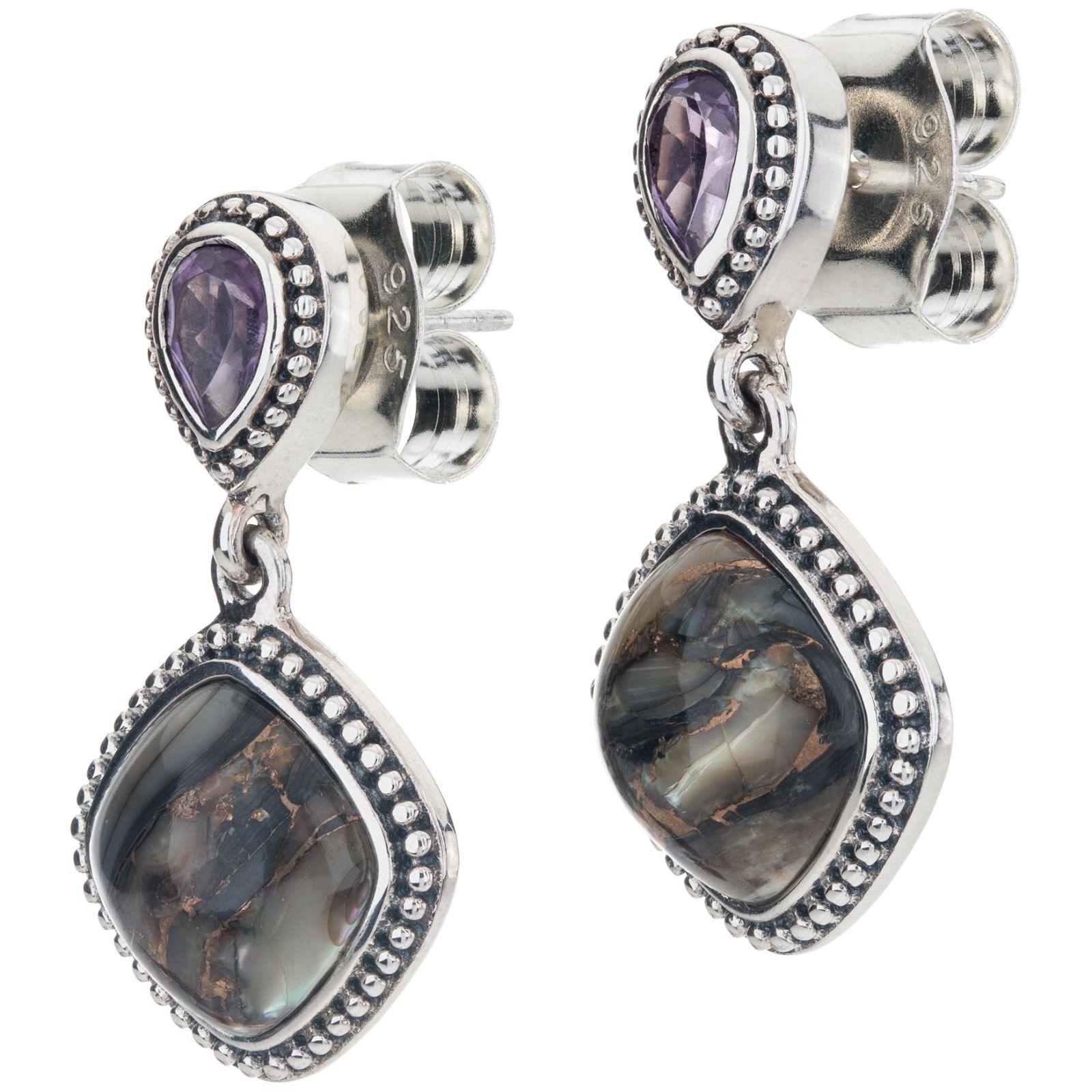 Silver Bronze Abalone & Amethyst Drop Earrings