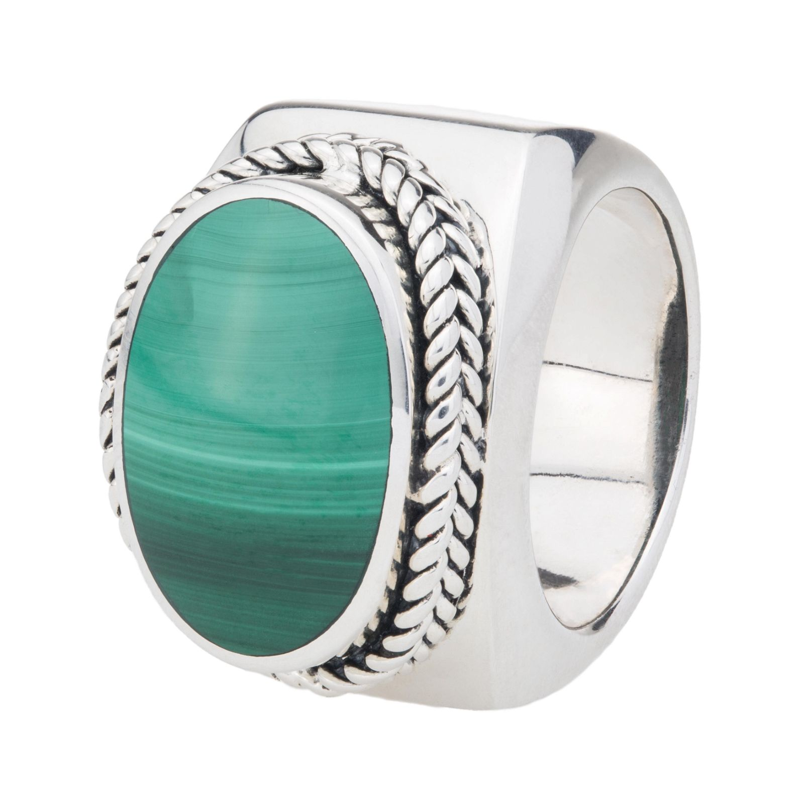 Sterling Silver Oval Malachite East-West Ring-SZ 10