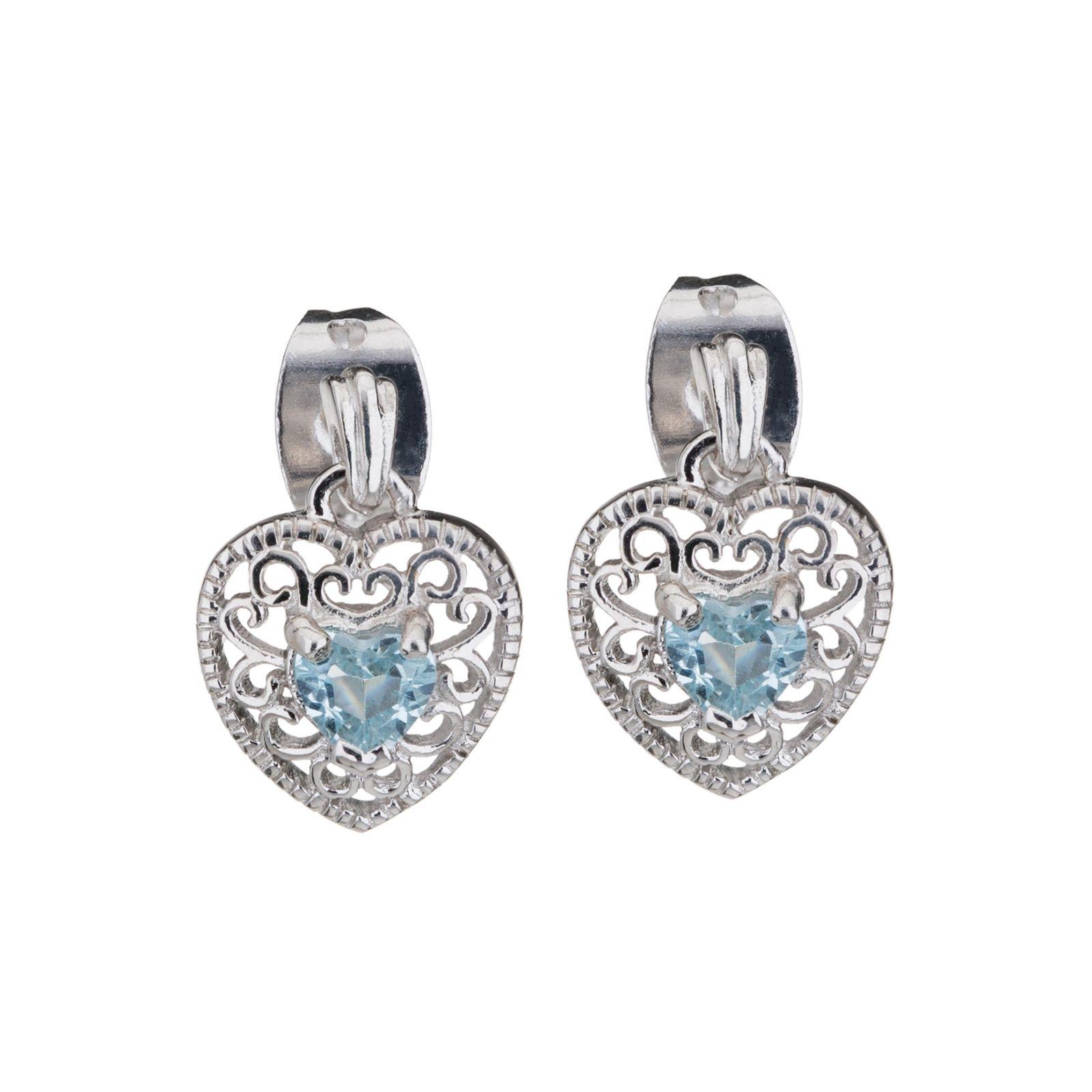 Genuine Blue Topaz Heart Stud Earrings