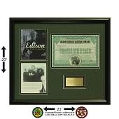 Thomas Edison Sotrage Battery Signed Certificate
