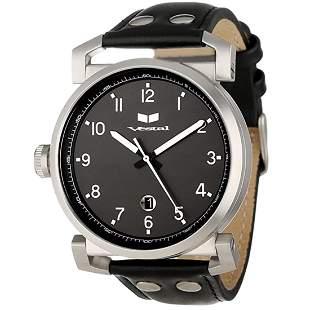 Observer Black Dial Black Leather Men's Watch OB3L006