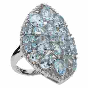 Sterling Silver 5.51ct Blue Topaz Shield Ring-SZ 5