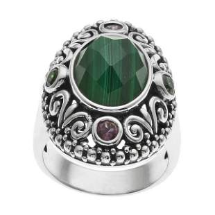 Silver Malachite & Gemstones Bali Style Ring-SZ 10
