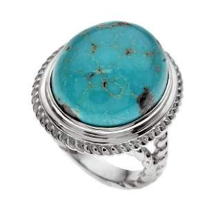 Silver Oval Turquoise Rope Textured Ring-SZ 8