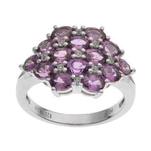 Silver Purple Garnet & Topaz Cluster Ring-SZ 8