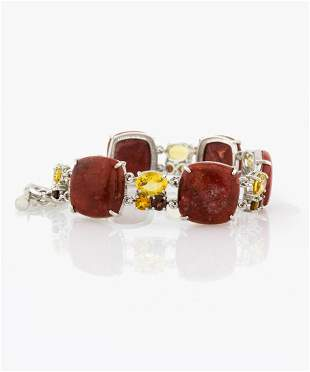 Silver Coral & Multi Gemstone Toggle Bracelet