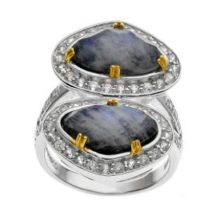Silver Onyx & Moonstone Doublet Halo Ring-SZ 6