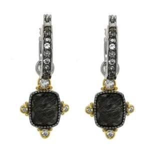 Silver Rutilated Quartz Doublet Drop Earrings