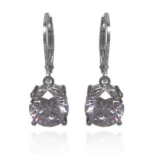 Sterling Silver Solitaire Leverback Earrings