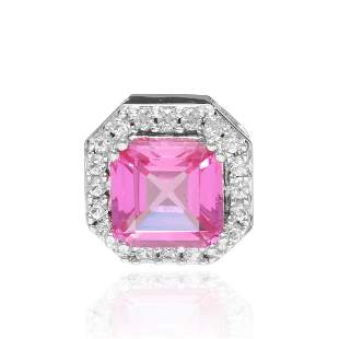 Sterling Silver Radiant Cut Pink Cz Pendant
