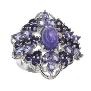 Sterling Silver Tanzanite & Iolite Ring-SZ 8