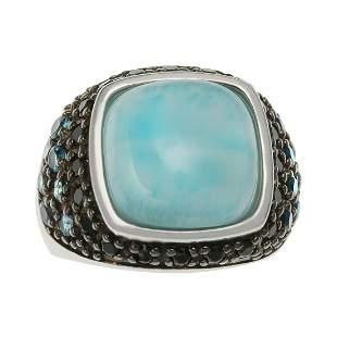 Sterling Silver Larimar & Gemstones Ring-SZ 6