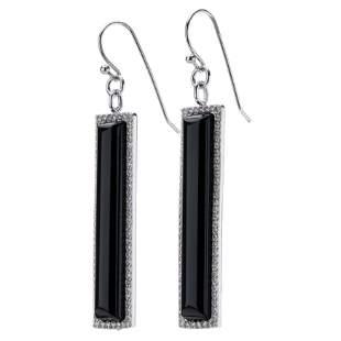 Silver Black Agate & White Topaz Linear Earrings