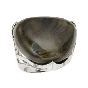 Silver Triangle Shaped Labradorite Ring-SZ 5