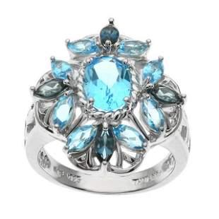 Silver 3.14ctw Blue Topaz Flower Ring-SZ 9