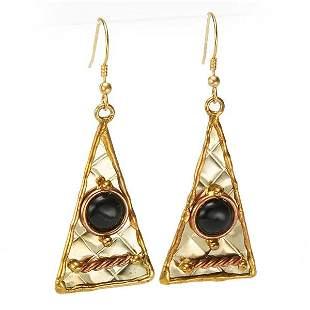 Tri Color Black Onyx Long Earrings