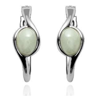 Sterling Silver Jade Hoop Earring