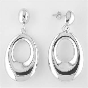 Sterling Silver Large Hoop Dangle Earrings