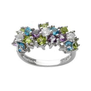 Sterling Silver Gemstones Bubble Ring-SZ 7