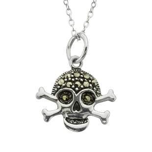 Sterling Silver Marcasite Skull Charm Pendant