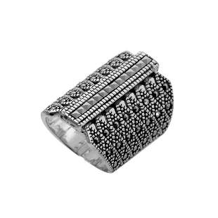 Sterling Silver Marcasite Shield Ring-SZ 6