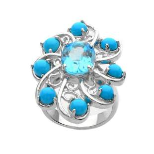 Silver 3.42ct Blue Topaz & Turquoise Ring-SZ 7