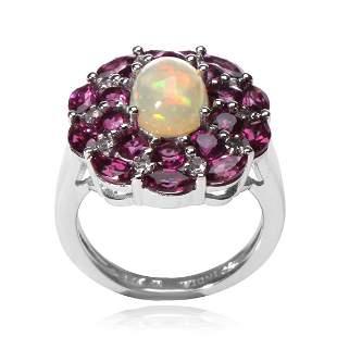 Silver Ethiopian Opal & Garnet Halo Ring-SZ 7