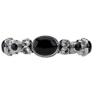 "Silver Colorado Black Moon & Topaz Bracelet 7.5"""