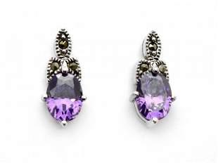 Sterling Silver Oval Amethyst & Marcasite Earrings