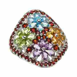 Silver 6.80ctw Multi Gemstone Flower Ring-SZ 8