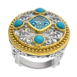 Silver 2.75ct Blue Topaz & Turquoise Ring-SZ 6