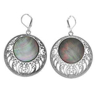 Sterling Silver Black MOP Openwork Drop Earrings