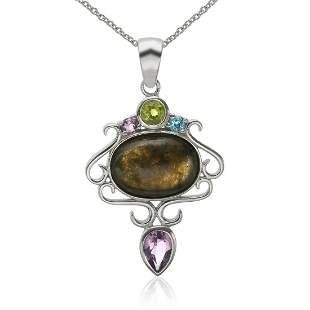 Sterling Silver Labradorite & Gemstones Pendant