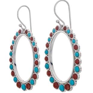 Sterling Silver Turquoise and Coral Hoop Earrings
