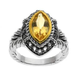 Silver Marquise Citrine & White Topaz Ring-SZ 8