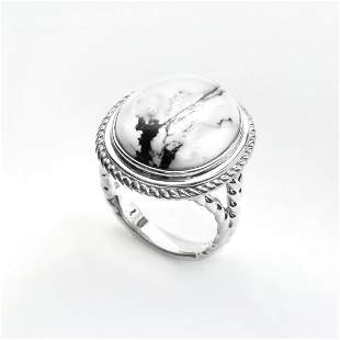 Silver Oval White Buffalo Rope Textured Ring-SZ 9