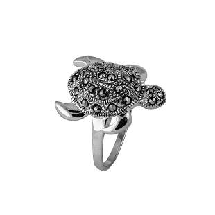 Sterling Silver Marcasite Turtle Ring-SZ 7