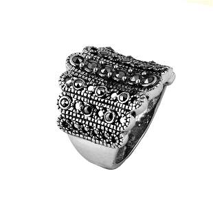 Sterling Silver Marcasite Beaded Ring-SZ 6