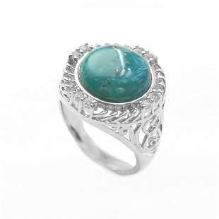 Silver Turquoise & White Topaz Textured Ring-SZ 7