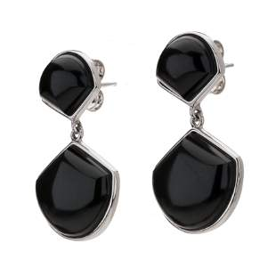 Sterling Silver Black Onyx Fan Drop Earrings