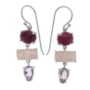 Silver Ruby Corundum & Gemstones Drop Earring