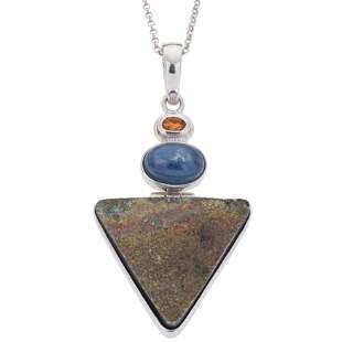 Silver Rainbow Pyrite, Citrine & Kyanite Pendant