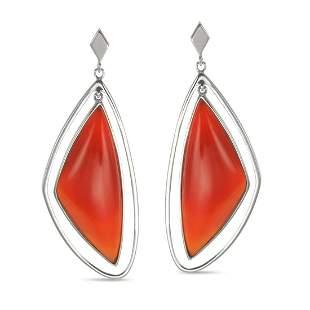 Sterling Silver Organic Carnelian Drop Earrings