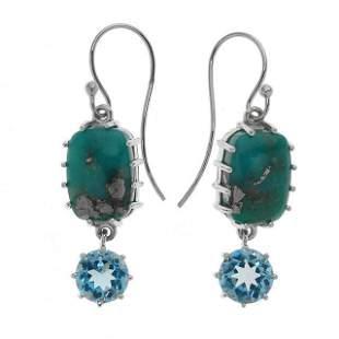 Silver 3.42ct Blue Topaz & Turquoise Drop Earrings