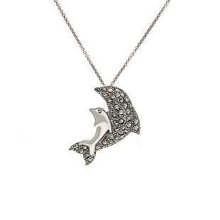 Sterling Silver Garnet & Marcasite Dolphin Pendant