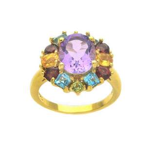 18k Gold over Silver Multi Gemstones Ring-SZ 7