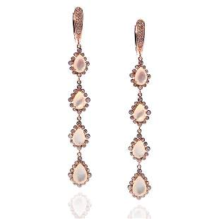 Sterling Silver Rose Gold Shell Drop Earrings