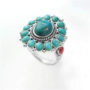 Sterling Silver Turquoise & Coral Flower Ring-SZ 6