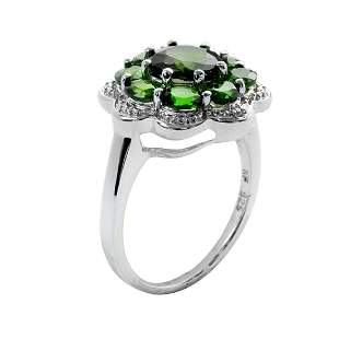 Silver 2.59ctw Chrome Diopside Flower Ring-SZ 9