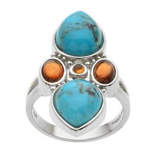 Silver Turquoise & Hessonite Garnet Ring-SZ 7